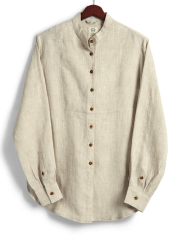 Bib Shirt, Natural Linen