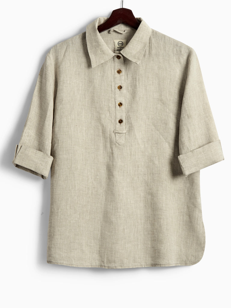 Safari Shirt in Natural Linen, Shirt, Hickman & Bousfield - Hickman & Bousfield, Safari and Travel Clothing