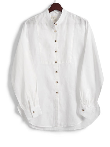 Bib Shirt in White Linen