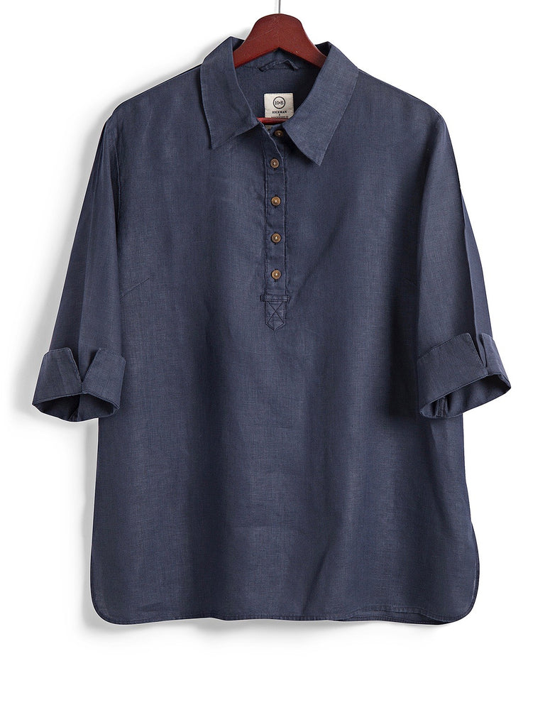 Safari Shirt in Navy Linen