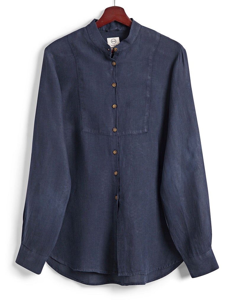 Bib Shirt in Navy Linen