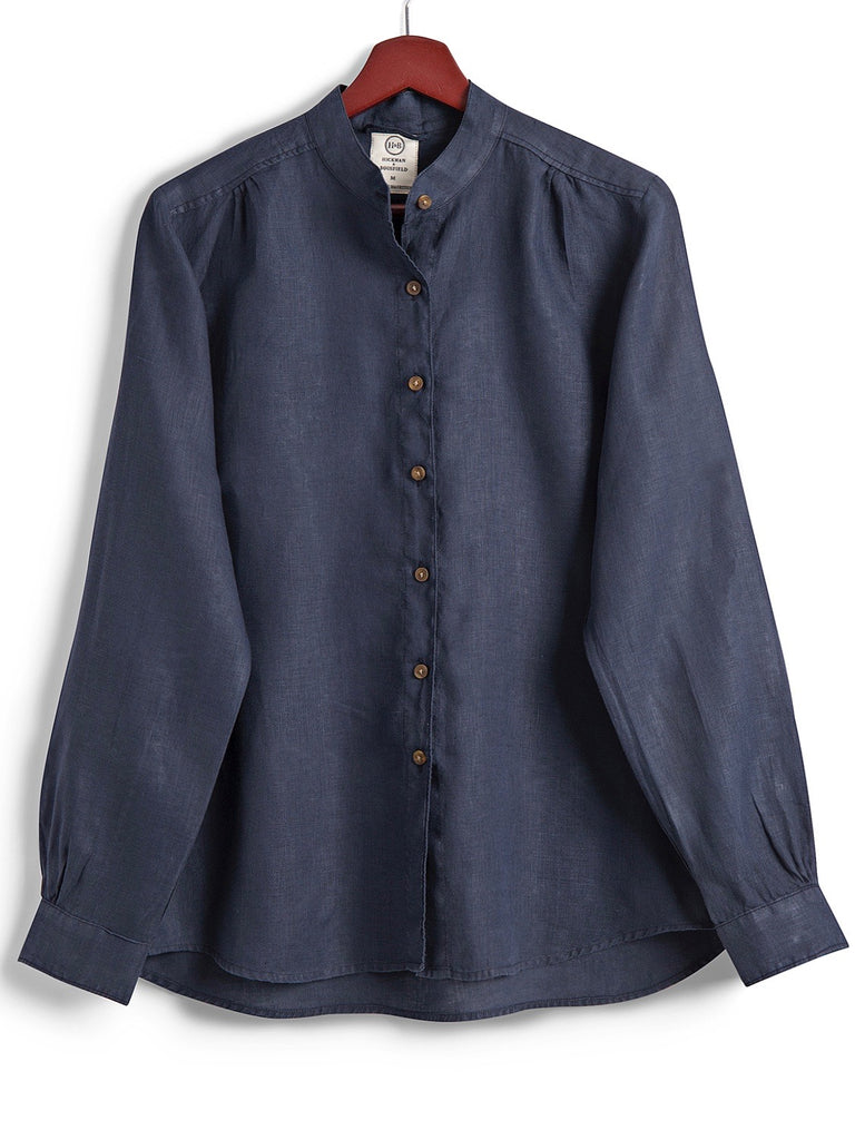 Grandad Shirt in Navy Linen,
