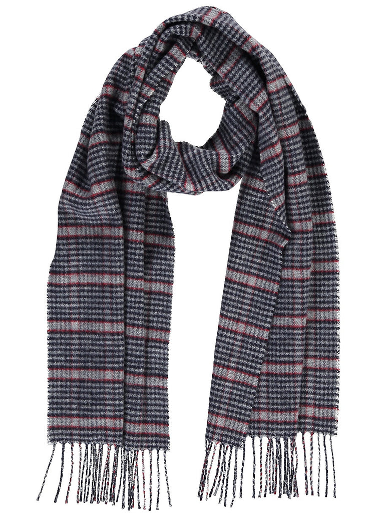 Merino Blend Houndstooth Scarf, Blue with Red, Scarves, Hickman & Bousfield - Hickman & Bousfield, Safari and Travel Clothing
