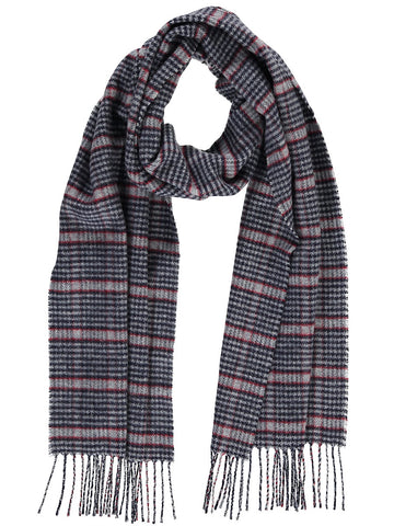 Merino Blend Houndstooth Scarf, Blue with Red