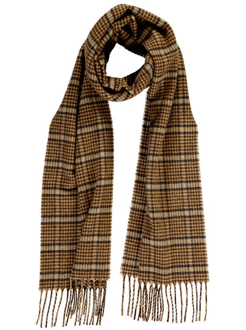 Merino Blend Houndstooth Scarf, Taupe with Blue
