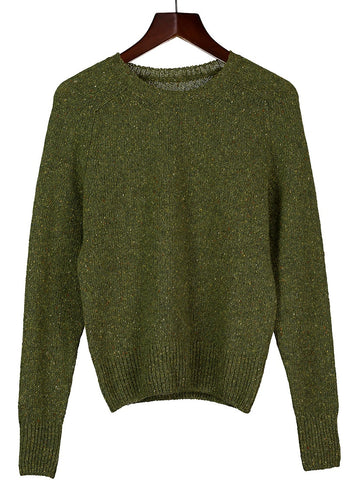 Round Neck jumper in Green Marl Cashmere