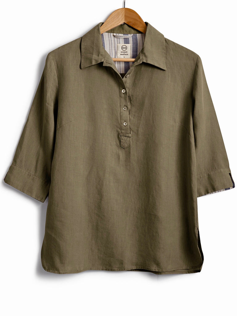 SAFARI SHIRT IN Olive LINEN, Shirt, Hickman & Bousfield - Hickman & Bousfield, Safari and Travel Clothing