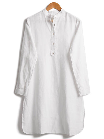 Long-line White Linen Tunic