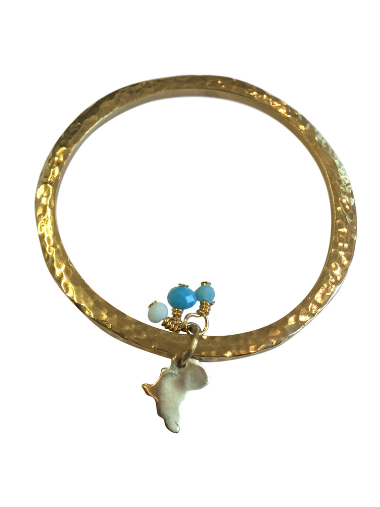 Boho Brass Bangle with Africa Charm, Jewellery, Soul Design - Hickman & Bousfield, Safari and Travel Clothing