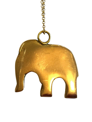 Brass Elephant Charm Necklace