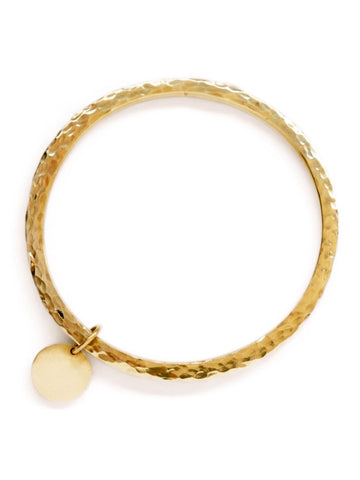 Boho Brass Bangle with Disc Charm