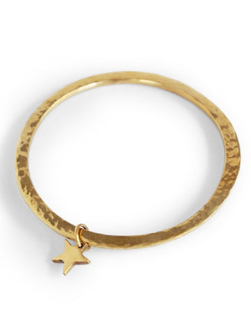 Boho Brass Bangle with Star Charm