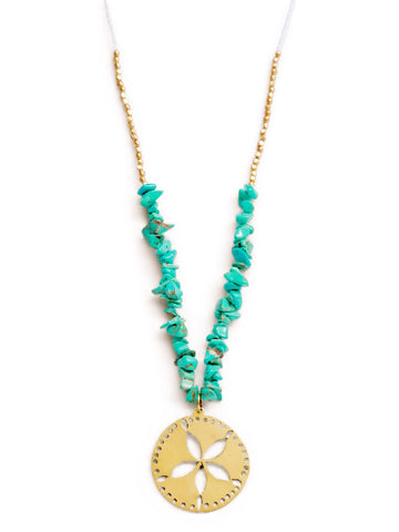 Swahili Sand Dollar Necklace, Beach Hues