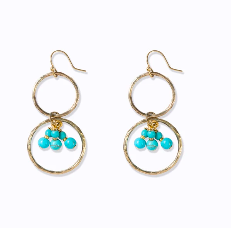 Handmade 100% brass earrings with aqua stones and brass beads.  50mm length x 30mm width with hoop earring fitting.
