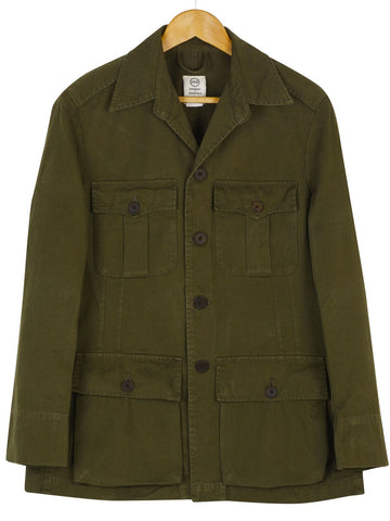 CLASSIC TAILORED SAFARI JACKET in Olive Green
