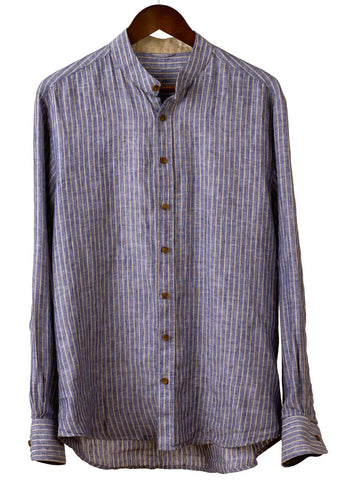 MEN'S COLLARLESS SHIRT in Vintage Stripe Linen