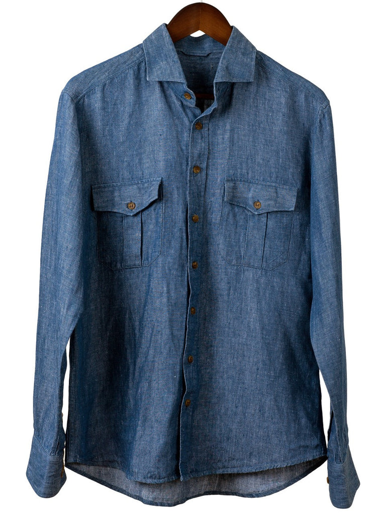 MEN'S SAFARI SHIRT in Indigo Linen, Shirt, Hickman & Bousfield - Hickman & Bousfield, Safari and Travel Clothing
