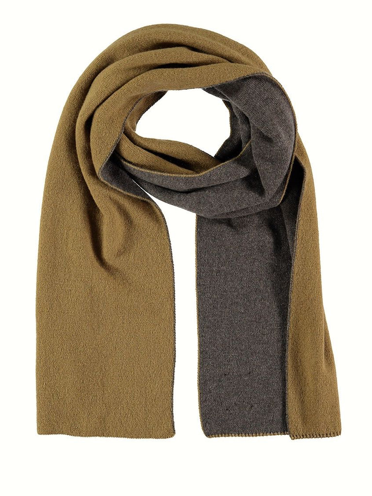 Reversible Cashmere Scarf, Otter/Kelp