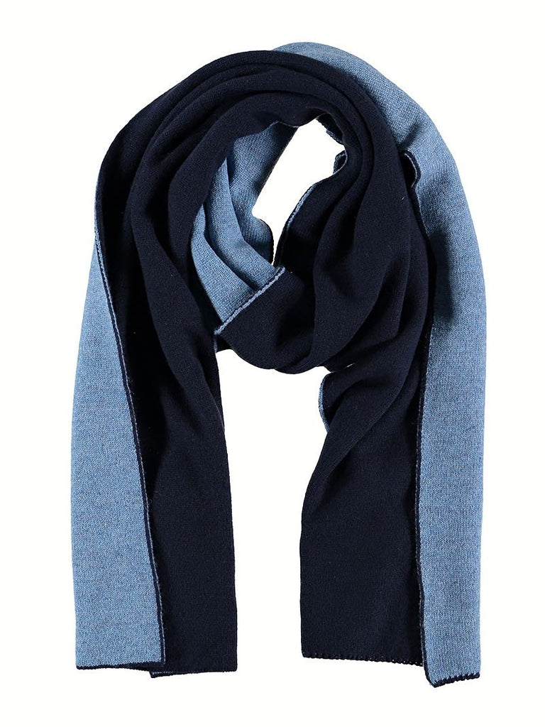 Reversible Cashmere Scarf, Navy/Cornflower, Scarves, Hickman & Bousfield - Hickman & Bousfield, Safari and Travel Clothing
