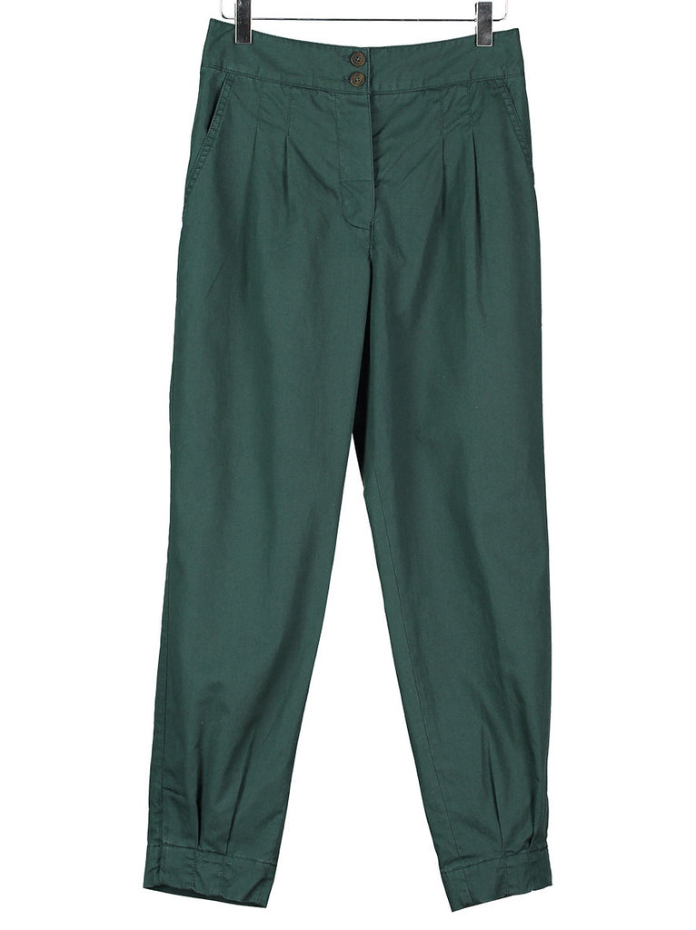 PLEAT FRONT PANTS in Teal, Hickman & Bousfield - Hickman & Bousfield