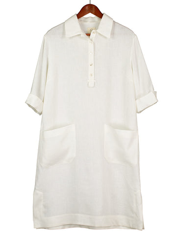 Safari Shirtdress in White Herringbone Linen
