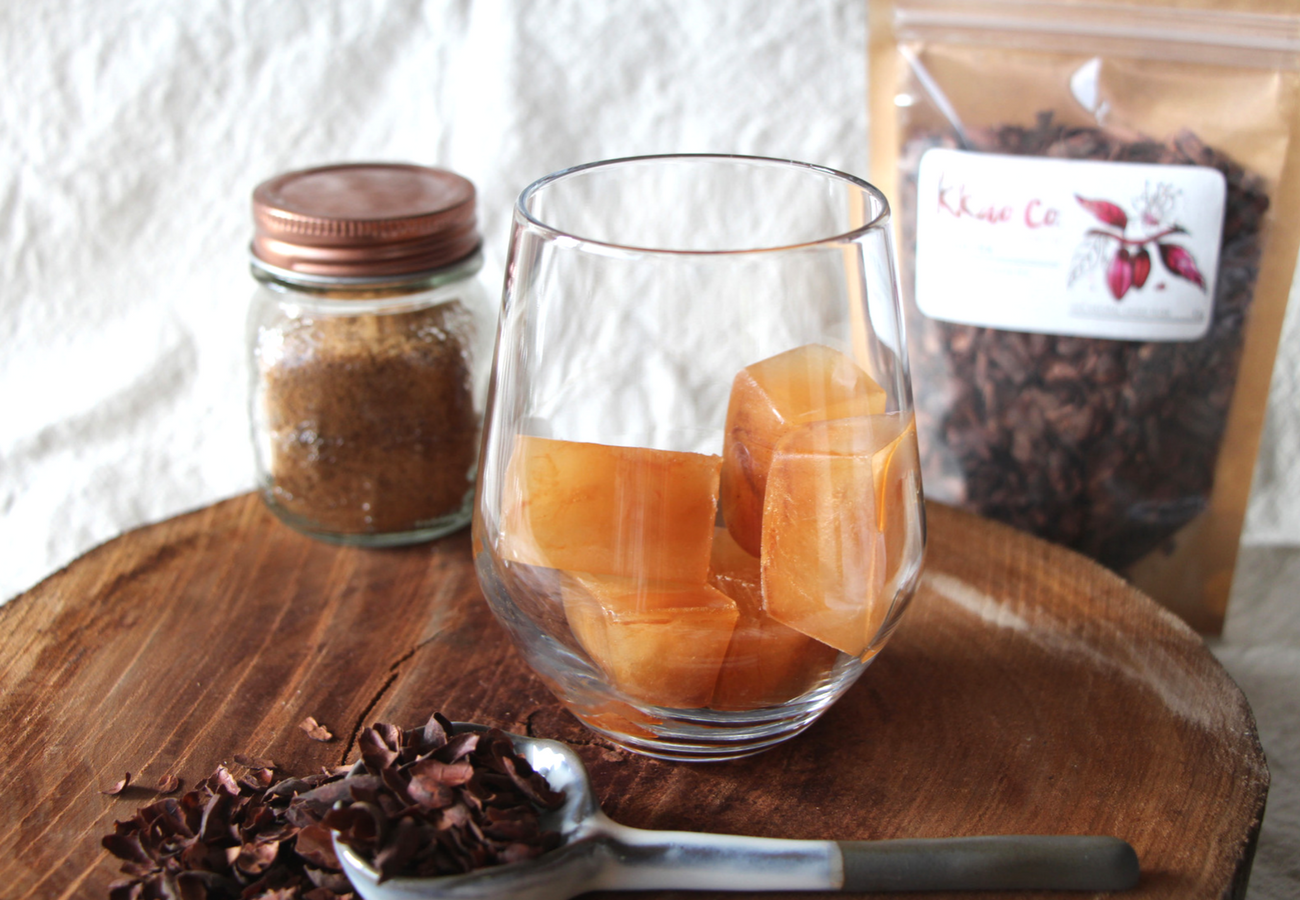Iced Coffee with Cacao Tea Ice Cubes