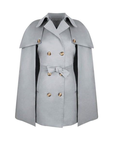 Darcey  Trench Cape in Dove Grey