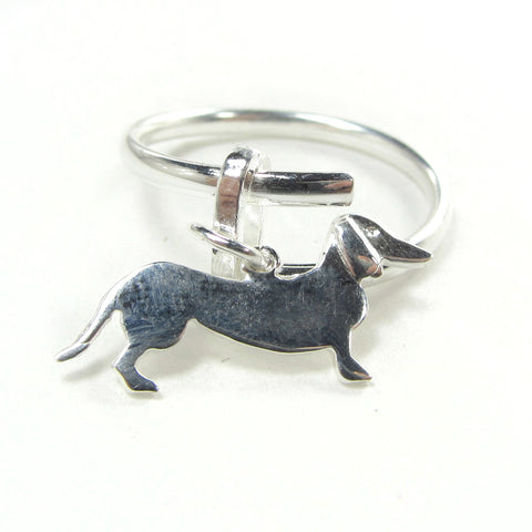 Ring with dachshund charm