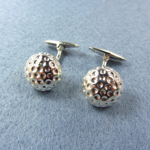 Cuff links  golf ball in silver
