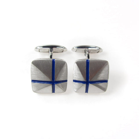 Cuff links with blue cross