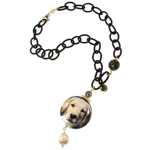 NECKLACE WITH DECOUPAGE PENDANT: LABRADOR