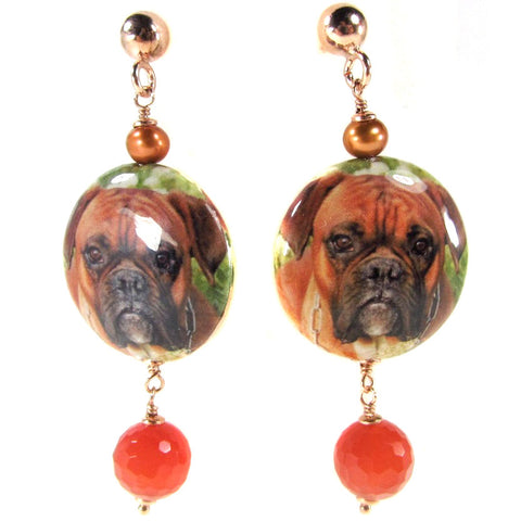 EARRINGS WITH DECOUPAGE PENDANT: BOXER