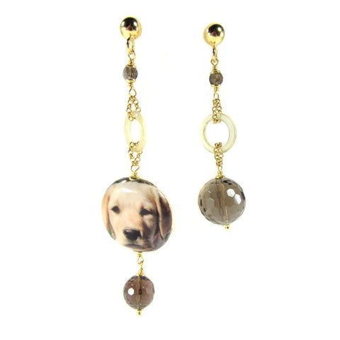 EARRINGS WITH DECOUPAGE PENDANT: LABRADOR