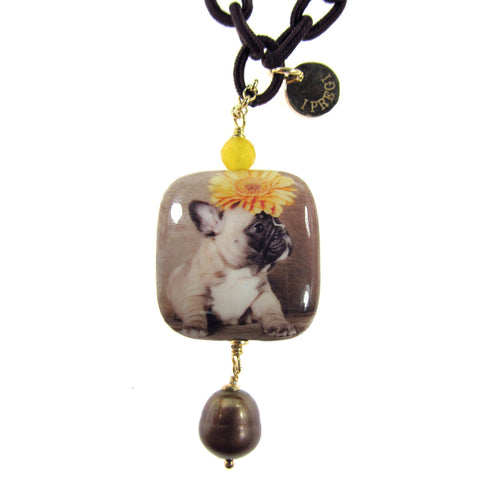 NECKLACE WITH DECOUPAGE PENDANT: FRENCH BULLDOG
