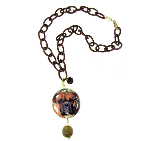 NECKLACE WITH DECOUPAGE PENDANT: BOXER