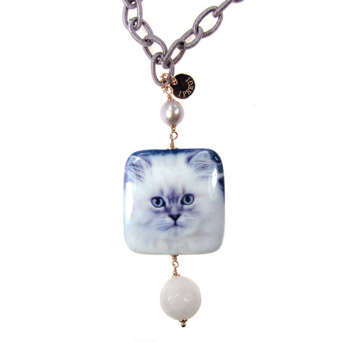 NECKLACE WITH DECOUPAGE PENDANT: CAT