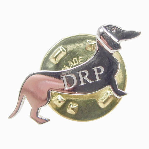 Dachshund silver pin badge