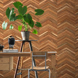 Teak On Teak Chevron Wallpaper by Piet Hein Eek
