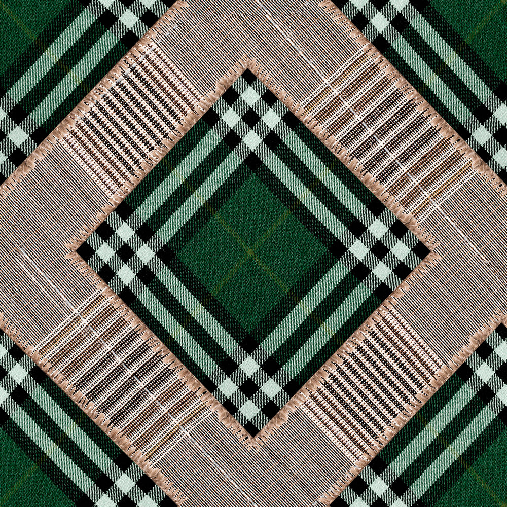 Checkered Patchwork British Green Collectables Wallpaper - MINDTHEGAP - Do Shop