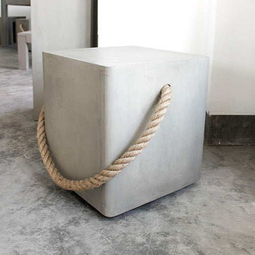 Concrete Soft Edge Stool with Wheels and Rope - Lyon Beton - Do Shop
