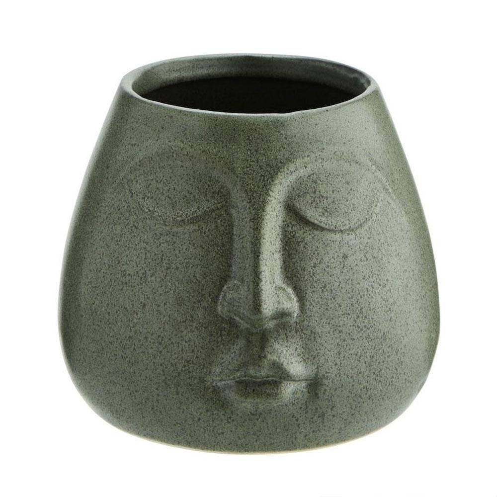 Dark Green Face Plant Pot