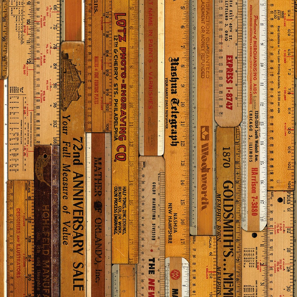 Printed Rulers Large Wallpaper by Mr & Mrs Vintage - NLXL LAB - Do Shop