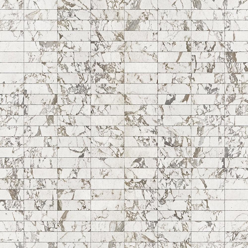 White Marble Tiles 24.4 x 7.7 cm Materials Wallpaper by Piet Hein Eek - NLXL - Do Shop
