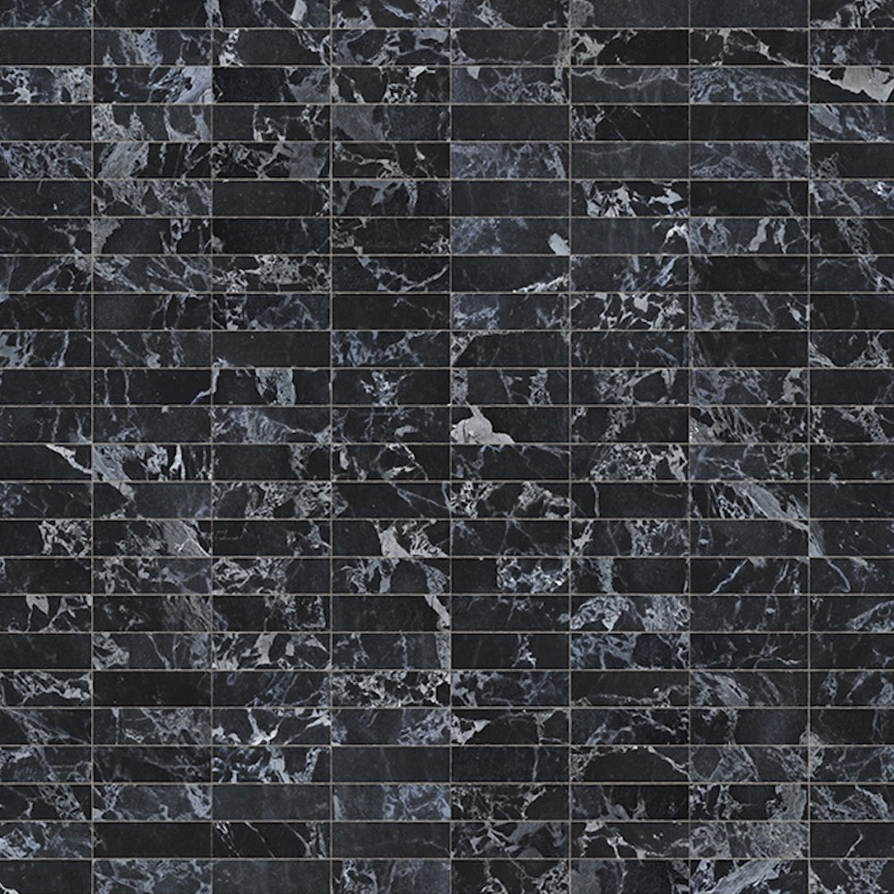 Black Marble Tiles 24.4 x 7.7 cm Materials Wallpaper by Piet Hein Eek - NLXL - Do Shop