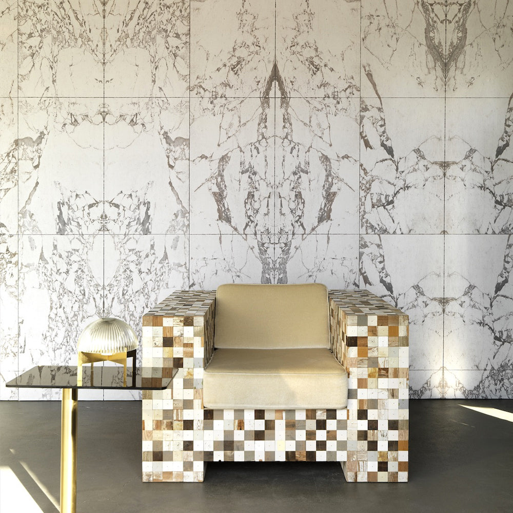 White Marble Tiles 48.7 x 76.9 cm Mirrored Materials Wallpaper by Piet Hein Eek - NLXL - Do Shop
