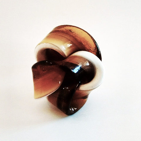 Fish Design Ring - Brown and White Ribbon - Corsi - Do Shop