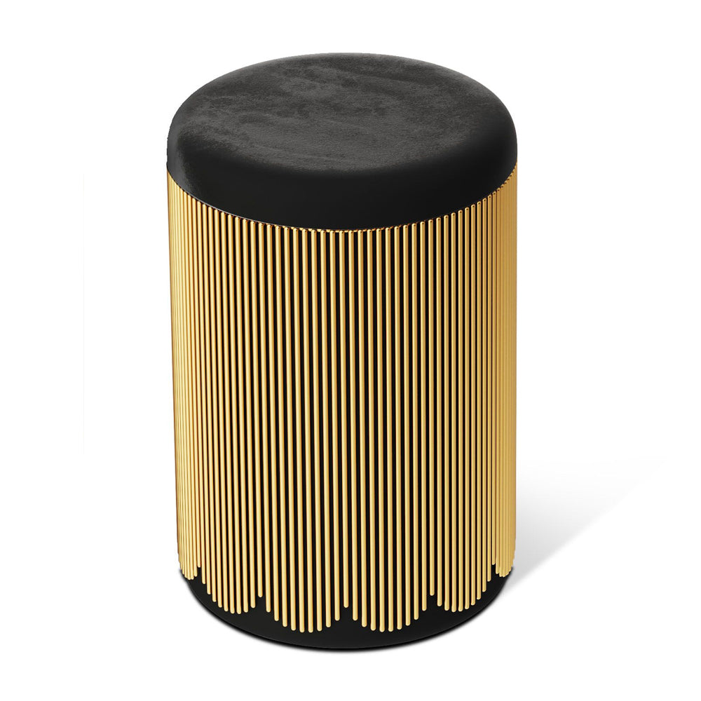 Strings Pouf Gold Black by Scarlet Splendour | Do Shop
