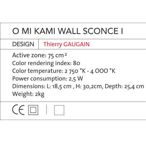 O Mi Kami Wall Sconce I - OLED Light - Blackbody - Do Shop