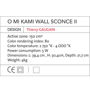 O Mi Kami Wall Sconce II - OLED Light - Blackbody - Do Shop