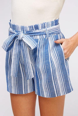 Striped Linen Shorts - The Salty Mare